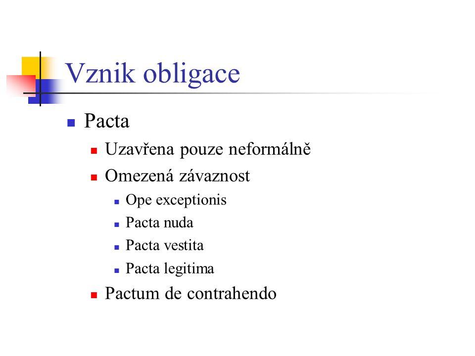 Vznik obligace Pacta Uzavřena pouze neformálně Omezená závaznost Ope exceptionis Pacta nuda Pacta vestita Pacta legitima Pactum de contrahendo