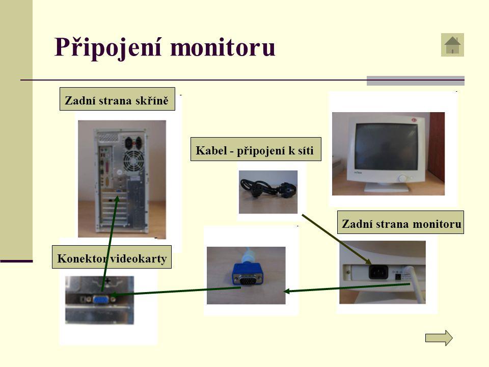 Připojení monitoru Zadní strana skříněZadní strana monitoruKabel - připojení k sítiKonektor videokarty