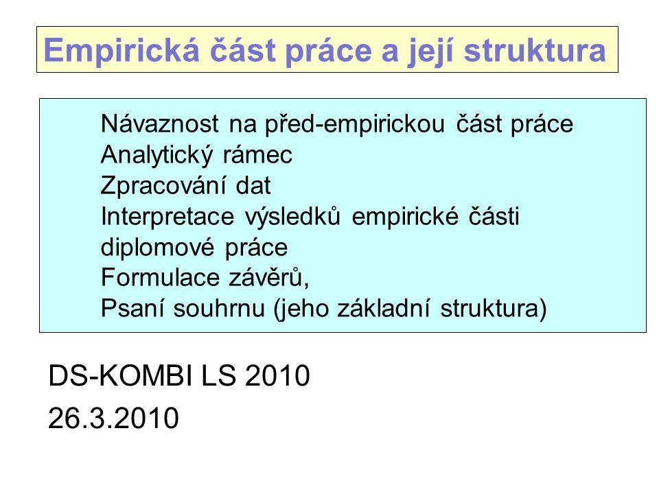 Návaznost na před-empirickou část práce Analytický rámec Zpracování dat Interpretace výsledků empirické části diplomové práce Formulace závěrů, Psaní