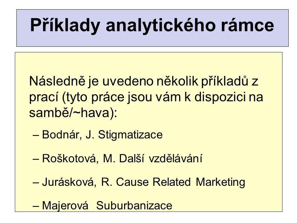 Příklady analytického rámce Následně je uvedeno několik příkladů z prací (tyto práce jsou vám k dispozici na sambě/~hava): –Bodnár, J. Stigmatizace –R