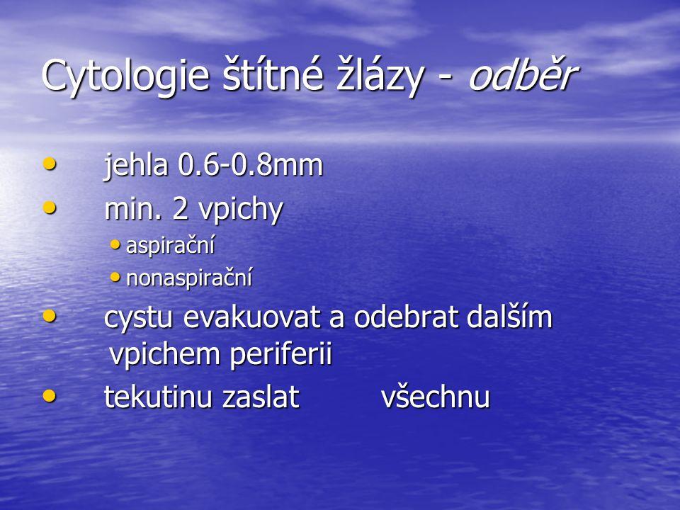 Cytologie štítné žlázy - odběr jehla 0.6-0.8mm jehla 0.6-0.8mm min. 2 vpichy min. 2 vpichy aspirační aspirační nonaspirační nonaspirační cystu evakuov