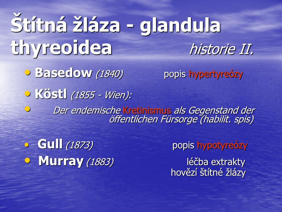 Štítná žláza - glandula thyreoidea historie II. Basedow (1840) popis hypertyreózy Basedow (1840) popis hypertyreózy Köstl (1855 - Wien): Köstl (1855 -