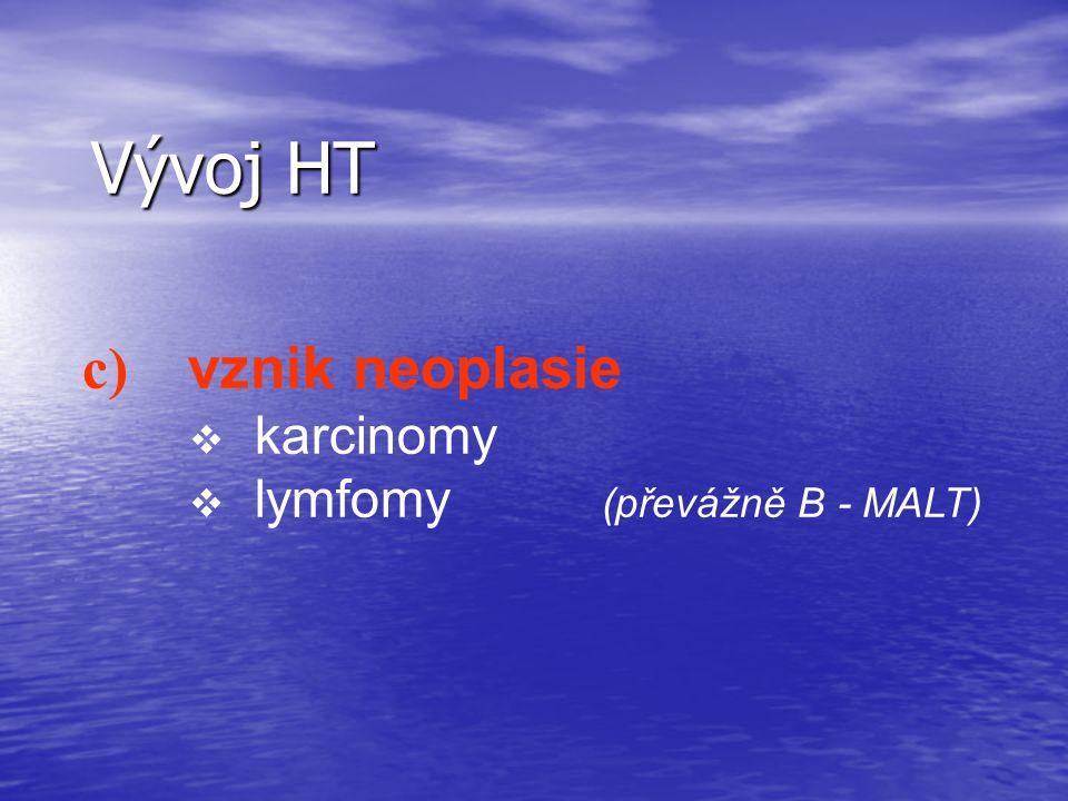 Vývoj HT c) vznik neoplasie v karcinomy v lymfomy (převážně B - MALT)