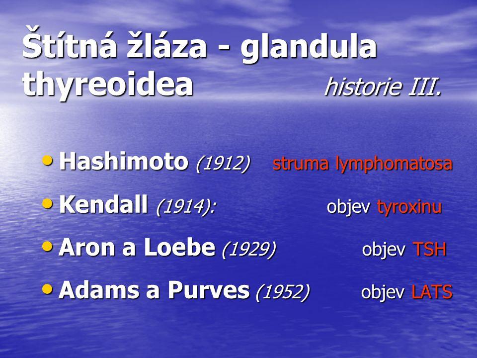 Štítná žláza - glandula thyreoidea historie III. Hashimoto (1912) struma lymphomatosa Hashimoto (1912) struma lymphomatosa Kendall (1914): objev tyrox