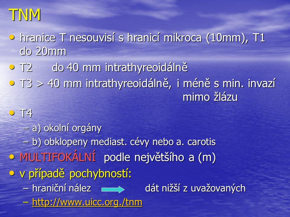 TNM hranice T nesouvisí s hranicí mikroca (10mm), T1 do 20mm hranice T nesouvisí s hranicí mikroca (10mm), T1 do 20mm T2 do40 mm intrathyreoidálně T2
