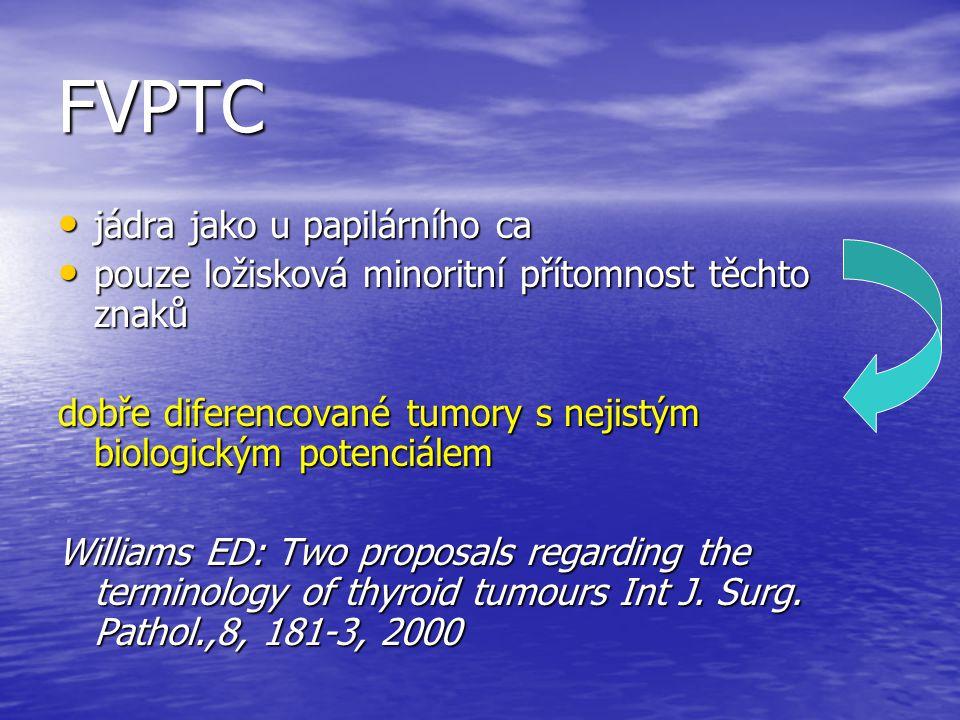 FVPTC jádra jako u papilárního ca jádra jako u papilárního ca pouze ložisková minoritní přítomnost těchto znaků pouze ložisková minoritní přítomnost t