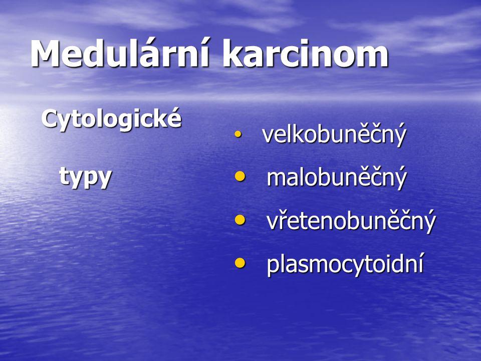 Medulární karcinom Cytologické typy velkobuněčný velkobuněčný malobuněčný malobuněčný vřetenobuněčný vřetenobuněčný plasmocytoidní plasmocytoidní