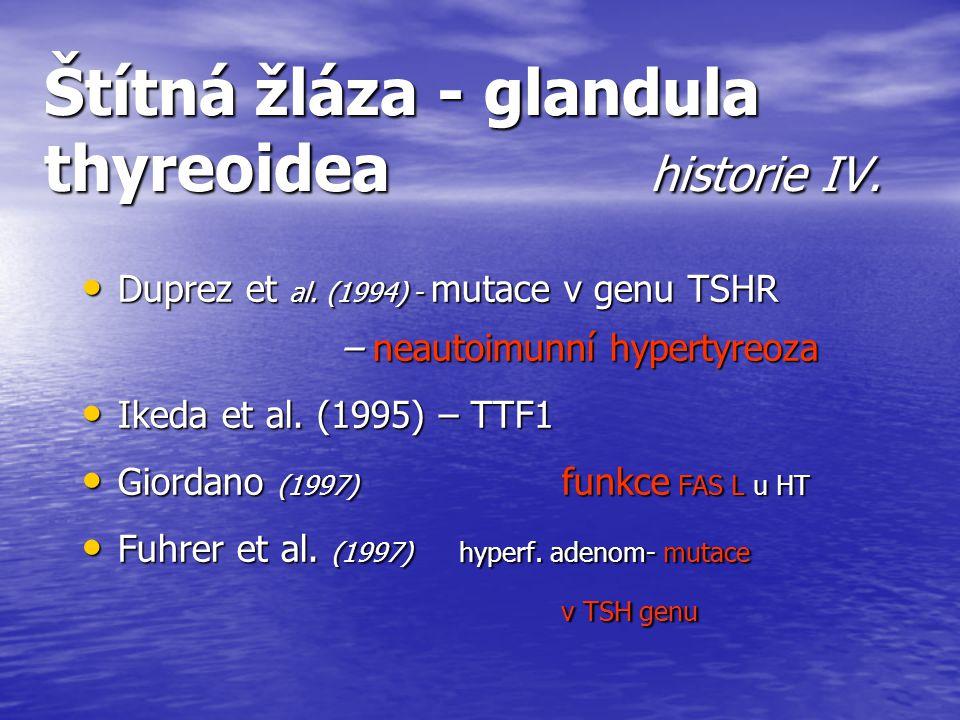 Štítná žláza - glandula thyreoidea historie IV. Duprez et al. (1994) - mutace v genu TSHR – neautoimunní hypertyreoza Duprez et al. (1994) - mutace v