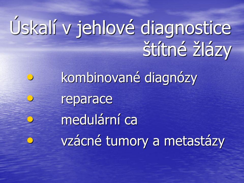 Úskalí v jehlové diagnostice štítné žlázy kombinované diagnózy kombinované diagnózy reparace reparace medulární ca medulární ca vzácné tumory a metast