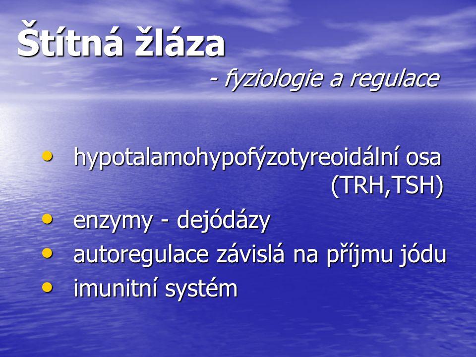 Štítná žláza - fyziologie a regulace hypotalamohypofýzotyreoidální osa (TRH,TSH) hypotalamohypofýzotyreoidální osa (TRH,TSH) enzymy - dejódázy enzymy
