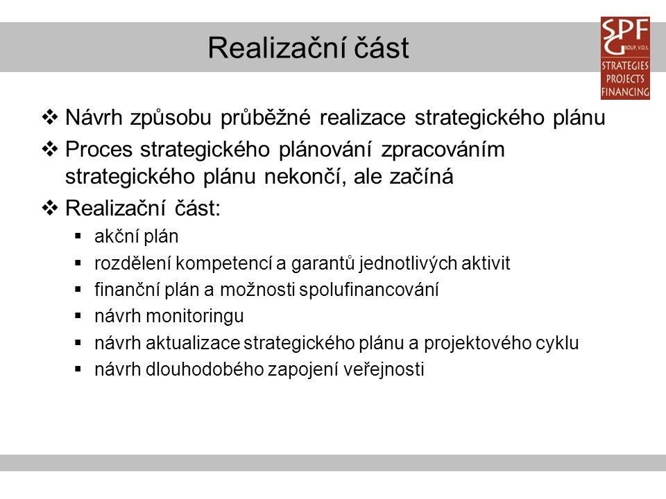 Realizační část  Návrh způsobu průběžné realizace strategického plánu  Proces strategického plánování zpracováním strategického plánu nekončí, ale začíná  Realizační část:  akční plán  rozdělení kompetencí a garantů jednotlivých aktivit  finanční plán a možnosti spolufinancování  návrh monitoringu  návrh aktualizace strategického plánu a projektového cyklu  návrh dlouhodobého zapojení veřejnosti