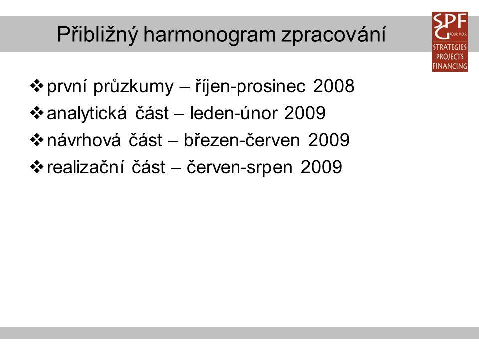 Přibližný harmonogram zpracování  první průzkumy – říjen-prosinec 2008  analytická část – leden-únor 2009  návrhová část – březen-červen 2009  realizační část – červen-srpen 2009