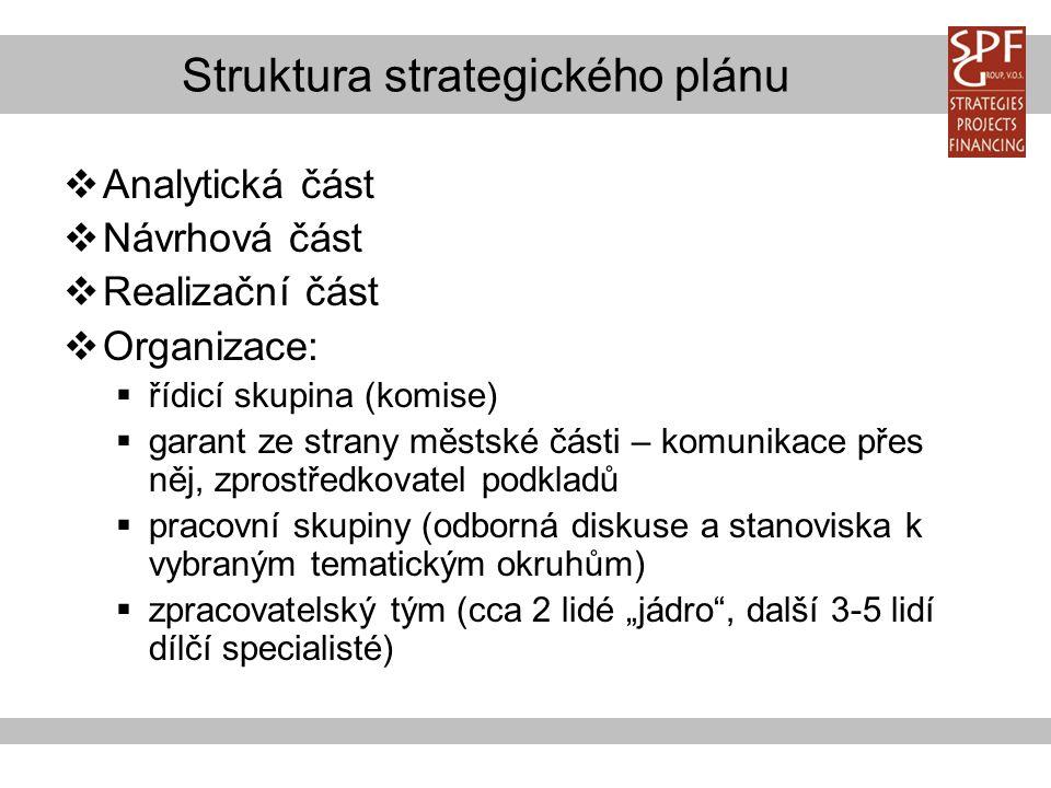 """Struktura strategického plánu  Analytická část  Návrhová část  Realizační část  Organizace:  řídicí skupina (komise)  garant ze strany městské části – komunikace přes něj, zprostředkovatel podkladů  pracovní skupiny (odborná diskuse a stanoviska k vybraným tematickým okruhům)  zpracovatelský tým (cca 2 lidé """"jádro , další 3-5 lidí dílčí specialisté)"""