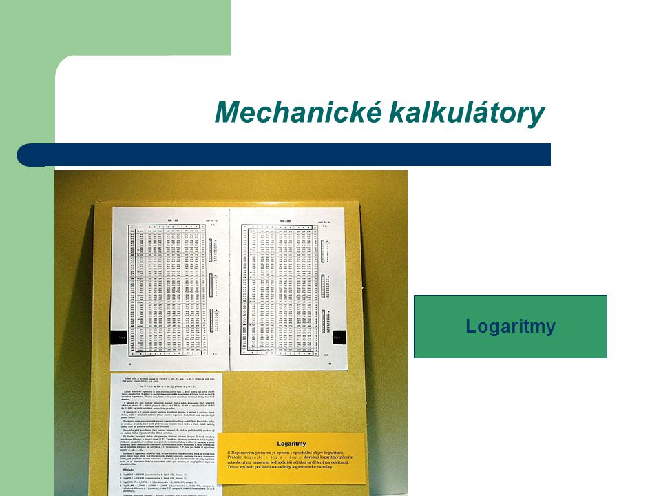 Mechanické kalkulátory Logaritmy