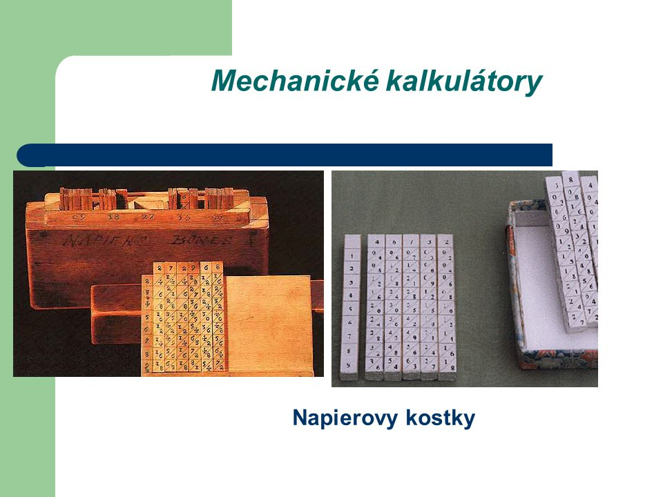 Mechanické kalkulátory Napierovy kostky