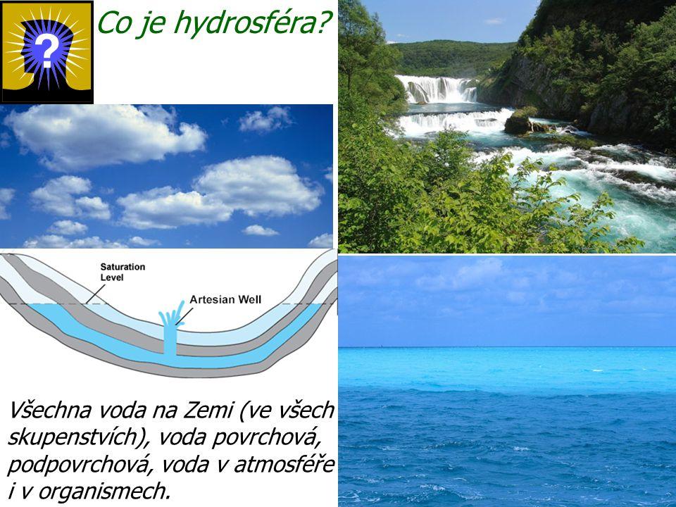 Co je hydrosféra? Všechna voda na Zemi (ve všech skupenstvích), voda povrchová, podpovrchová, voda v atmosféře i v organismech.