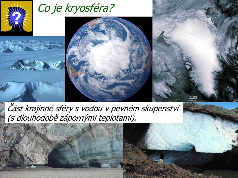 Co je kryosféra? Část krajinné sféry s vodou v pevném skupenství (s dlouhodobě zápornými teplotami).