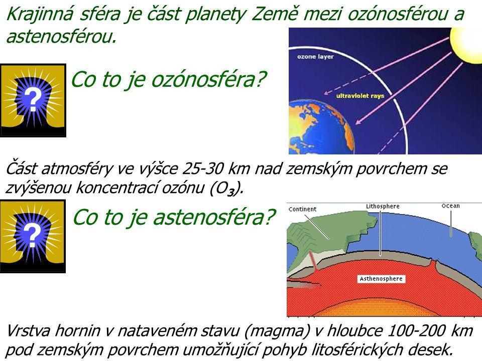 Co to je astenosféra? Co to je ozónosféra? Vrstva hornin v nataveném stavu (magma) v hloubce 100-200 km pod zemským povrchem umožňující pohyb litosfér