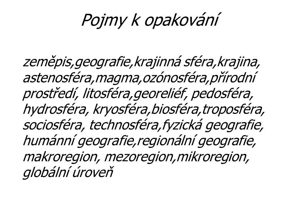 Pojmy k opakování zeměpis,geografie,krajinná sféra,krajina, astenosféra,magma,ozónosféra,přírodní prostředí, litosféra,georeliéf, pedosféra, hydrosfér