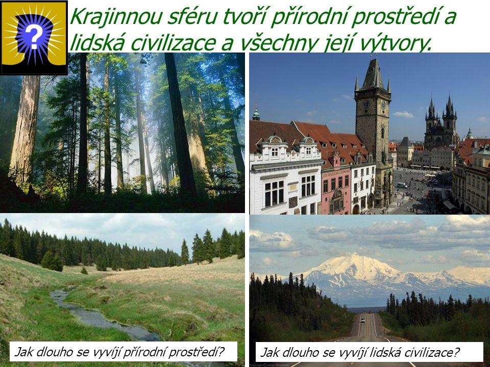 Krajinnou sféru tvoří přírodní prostředí a lidská civilizace a všechny její výtvory. Jak dlouho se vyvíjí přírodní prostředí? Jak dlouho se vyvíjí lid