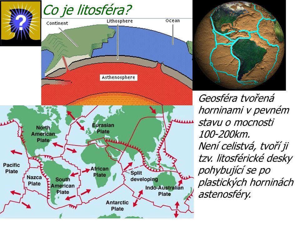 Co je litosféra? Geosféra tvořená horninami v pevném stavu o mocnosti 100-200km. Není celistvá, tvoří ji tzv. litosférické desky pohybující se po plas