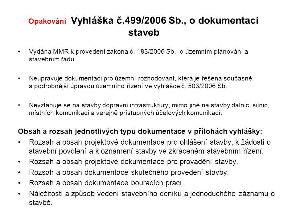 Opakování Vyhláška č.499/2006 Sb., o dokumentaci staveb Vydána MMR k provedení zákona č.