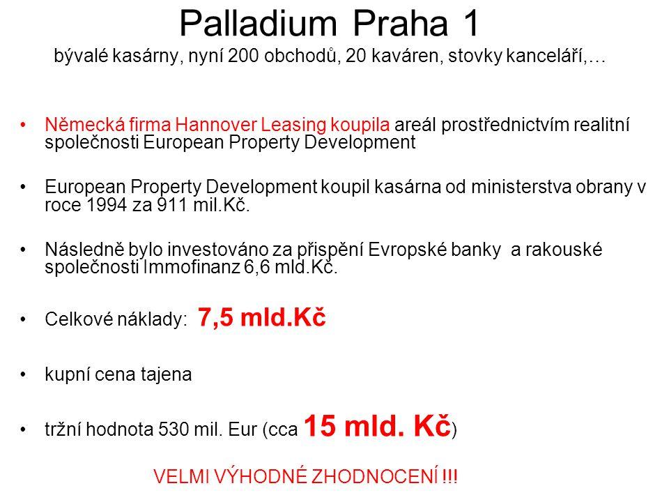 Palladium Praha 1 bývalé kasárny, nyní 200 obchodů, 20 kaváren, stovky kanceláří,… Německá firma Hannover Leasing koupila areál prostřednictvím realitní společnosti European Property Development European Property Development koupil kasárna od ministerstva obrany v roce 1994 za 911 mil.Kč.