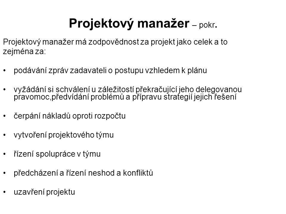 Projektový manažer – pokr.