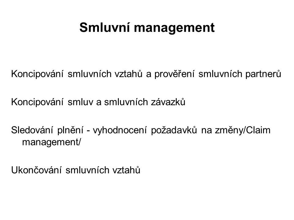 Smluvní management Koncipování smluvních vztahů a prověření smluvních partnerů Koncipování smluv a smluvních závazků Sledování plnění - vyhodnocení požadavků na změny/Claim management/ Ukončování smluvních vztahů