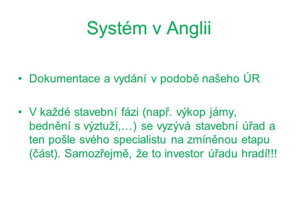 Systém v Anglii Dokumentace a vydání v podobě našeho ÚR V každé stavební fázi (např.