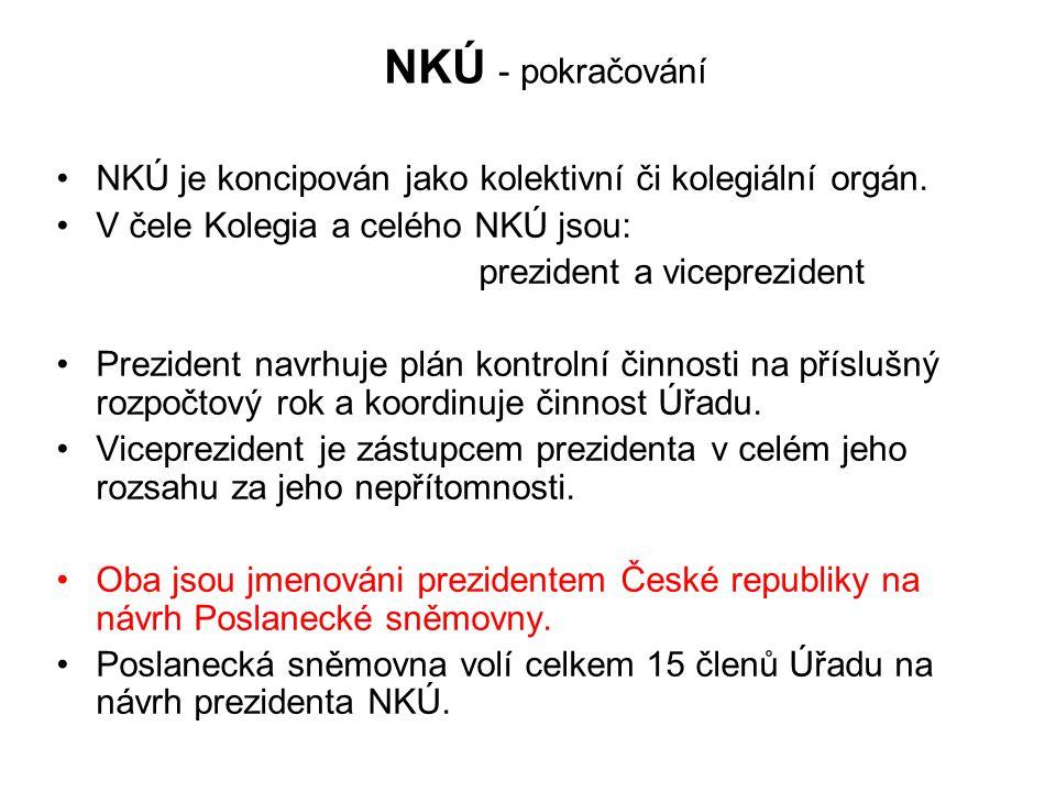 NKÚ - pokračování NKÚ je koncipován jako kolektivní či kolegiální orgán.