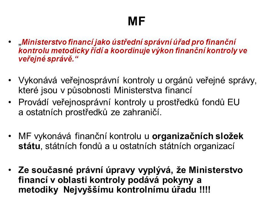 """MF """" Ministerstvo financí jako ústřední správní úřad pro finanční kontrolu metodicky řídí a koordinuje výkon finanční kontroly ve veřejné správě. Vykonává veřejnosprávní kontroly u orgánů veřejné správy, které jsou v působnosti Ministerstva financí Provádí veřejnosprávní kontroly u prostředků fondů EU a ostatních prostředků ze zahraničí."""