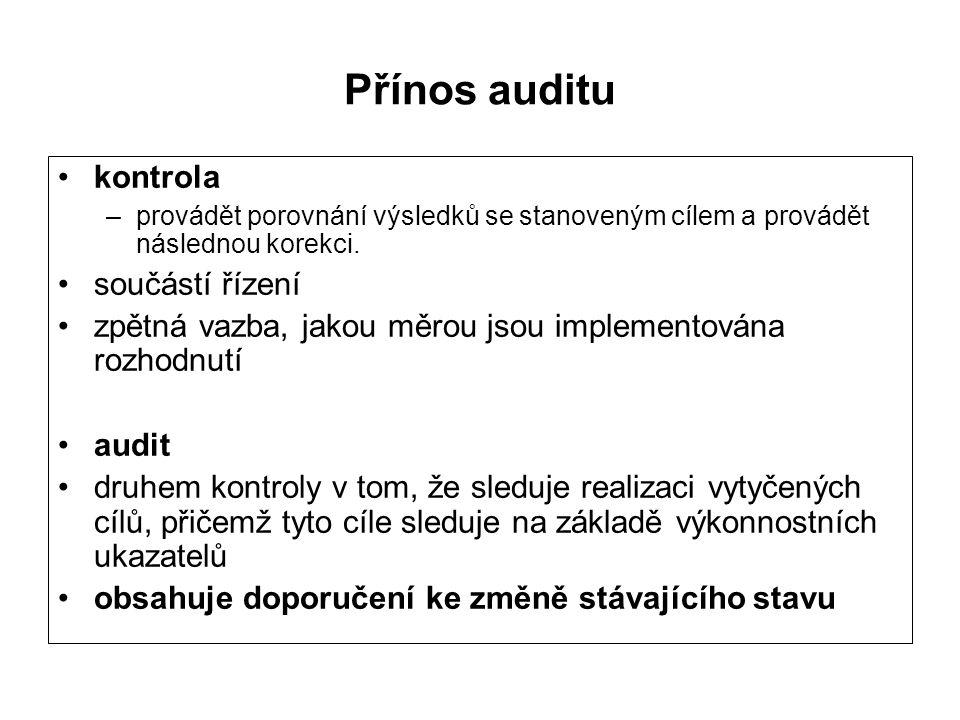 Přínos auditu kontrola –provádět porovnání výsledků se stanoveným cílem a provádět následnou korekci.