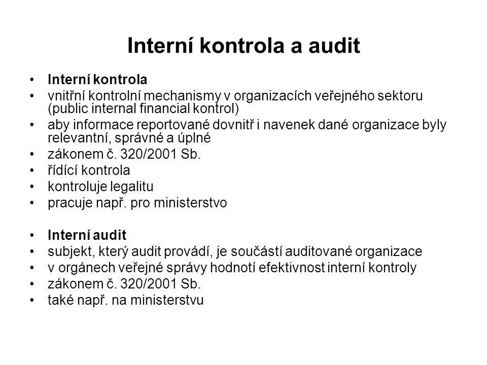 Interní kontrola a audit Interní kontrola vnitřní kontrolní mechanismy v organizacích veřejného sektoru (public internal financial kontrol) aby informace reportované dovnitř i navenek dané organizace byly relevantní, správné a úplné zákonem č.
