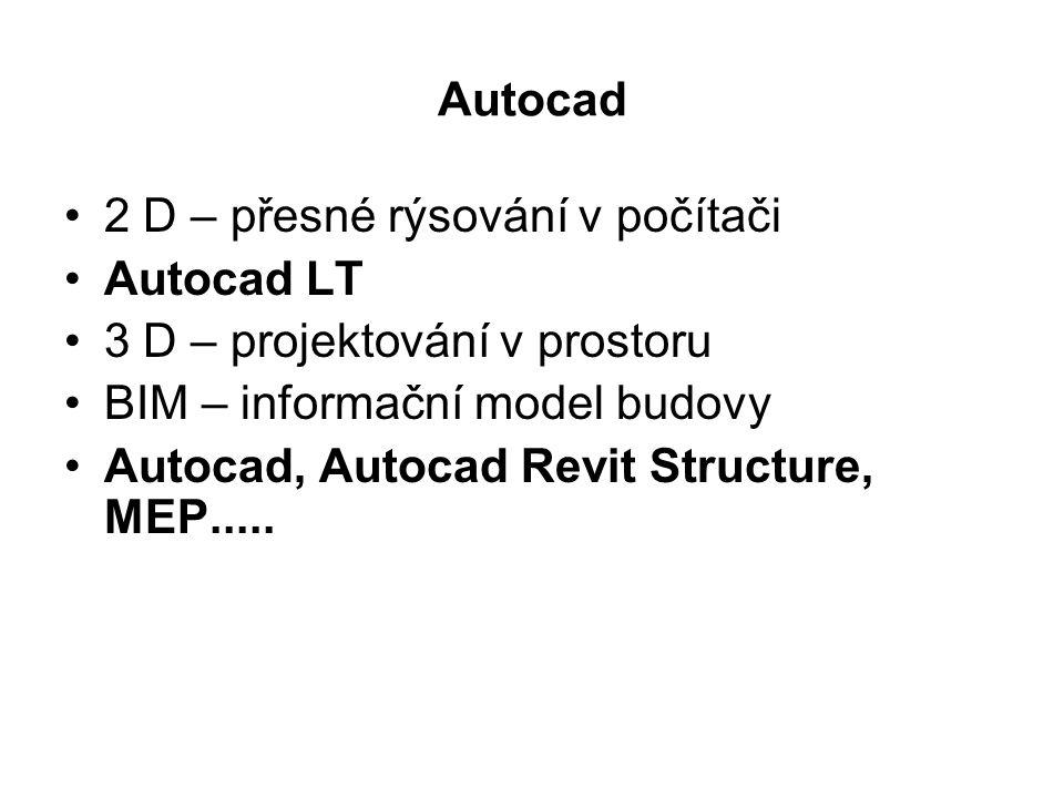 Autocad 2 D – přesné rýsování v počítači Autocad LT 3 D – projektování v prostoru BIM – informační model budovy Autocad, Autocad Revit Structure, MEP.....