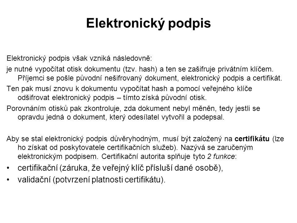 Elektronický podpis Elektronický podpis však vzniká následovně: je nutné vypočítat otisk dokumentu (tzv.