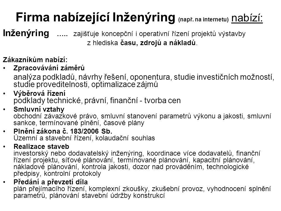 Firma nabízející Inženýring (např.na internetu) nabízí: Inženýring …..