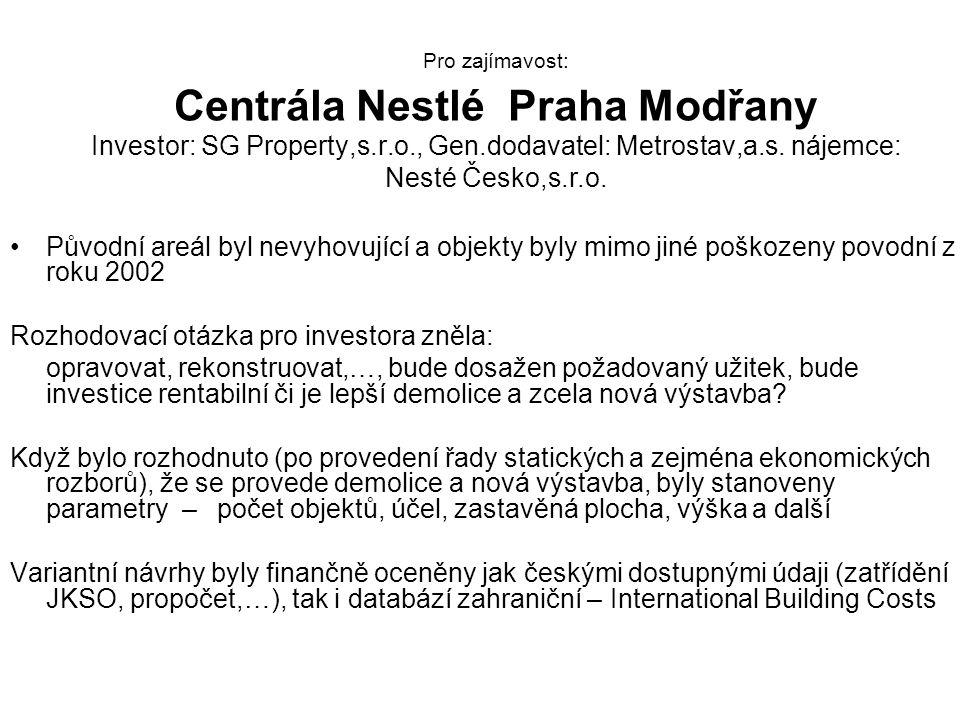 Pro zajímavost: Centrála Nestlé Praha Modřany Investor: SG Property,s.r.o., Gen.dodavatel: Metrostav,a.s.
