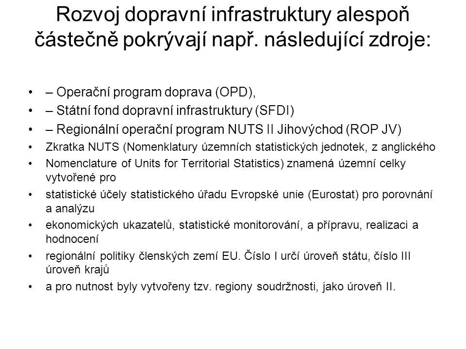 Rozvoj dopravní infrastruktury alespoň částečně pokrývají např.