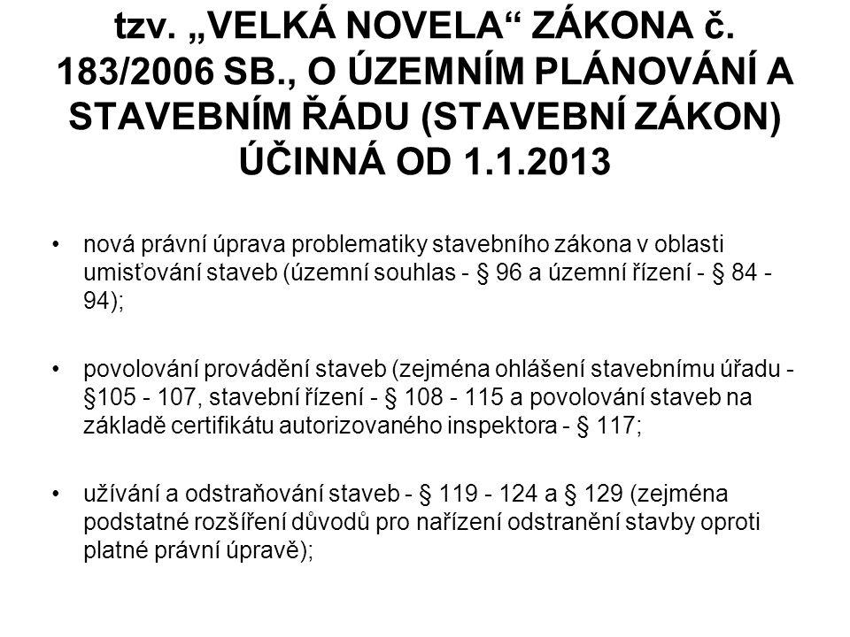 """tzv.""""VELKÁ NOVELA ZÁKONA č."""