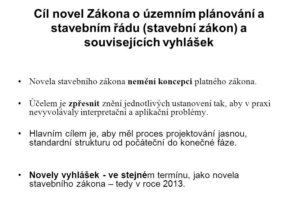 Cíl novel Zákona o územním plánování a stavebním řádu (stavební zákon) a souvisejících vyhlášek Novela stavebního zákona nemění koncepci platného zákona.