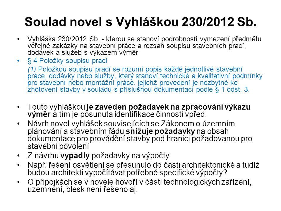 Soulad novel s Vyhláškou 230/2012 Sb.Vyhláška 230/2012 Sb.