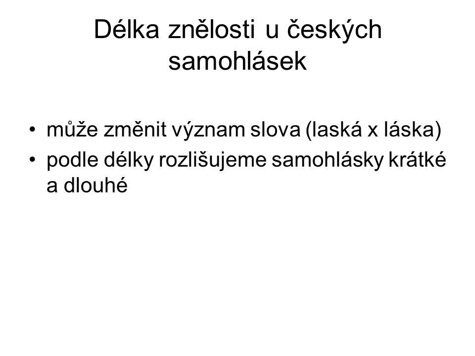 Délka znělosti u českých samohlásek může změnit význam slova (laská x láska) podle délky rozlišujeme samohlásky krátké a dlouhé