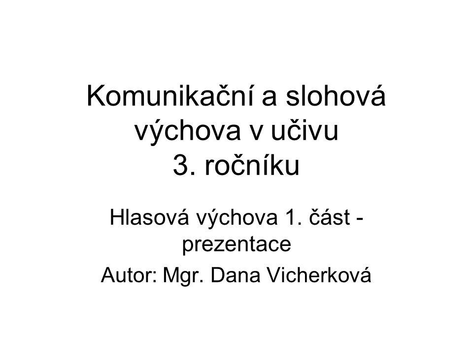 Komunikační a slohová výchova v učivu 3. ročníku Hlasová výchova 1. část - prezentace Autor: Mgr. Dana Vicherková