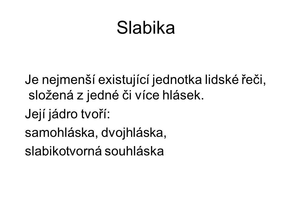 Slabika Je nejmenší existující jednotka lidské řeči, složená z jedné či více hlásek. Její jádro tvoří: samohláska, dvojhláska, slabikotvorná souhláska