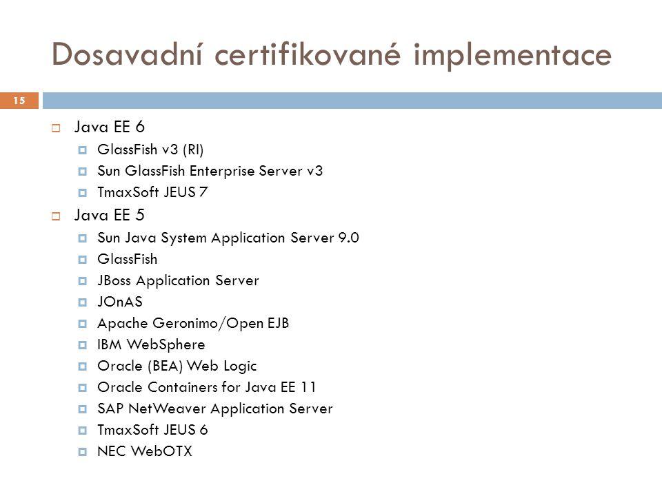 Dosavadní certifikované implementace  Java EE 6  GlassFish v3 (RI)  Sun GlassFish Enterprise Server v3  TmaxSoft JEUS 7  Java EE 5  Sun Java Sys
