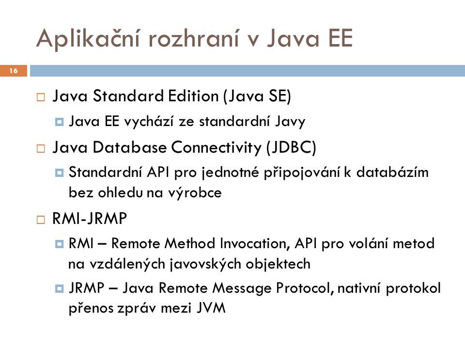 Aplikační rozhraní v Java EE  Java Standard Edition (Java SE)  Java EE vychází ze standardní Javy  Java Database Connectivity (JDBC)  Standardní A