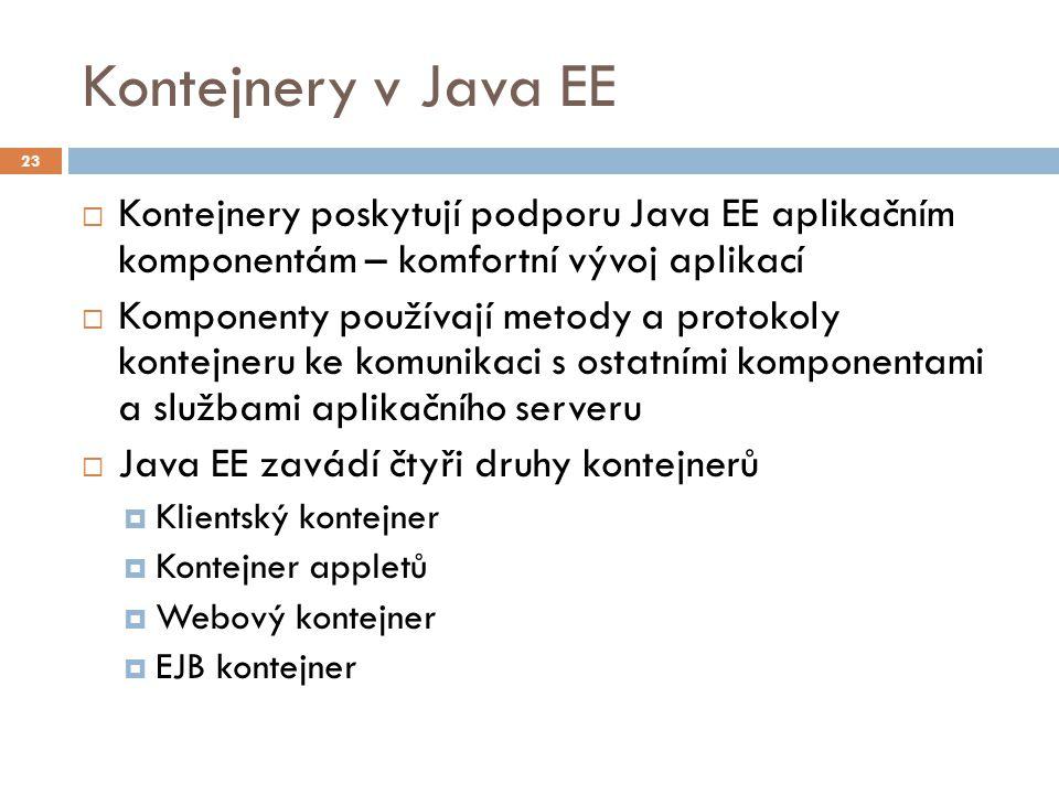 Kontejnery v Java EE  Kontejnery poskytují podporu Java EE aplikačním komponentám – komfortní vývoj aplikací  Komponenty používají metody a protokol