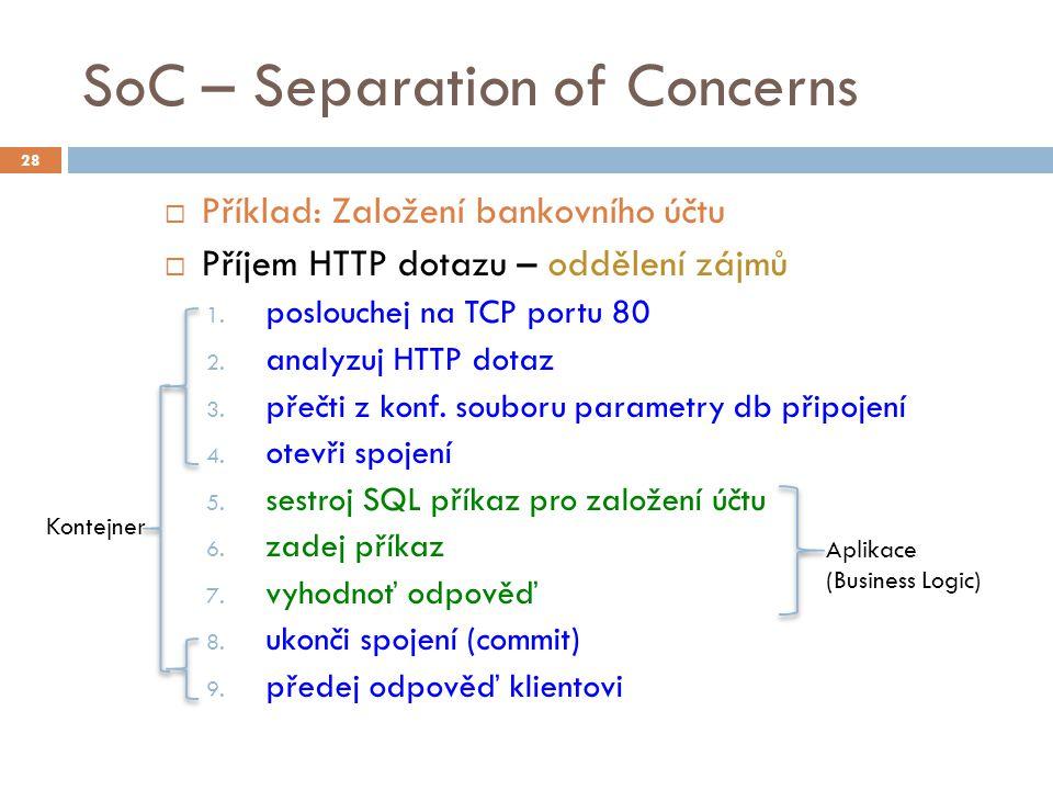 SoC – Separation of Concerns  Příklad: Založení bankovního účtu  Příjem HTTP dotazu – oddělení zájmů 1. poslouchej na TCP portu 80 2. analyzuj HTTP