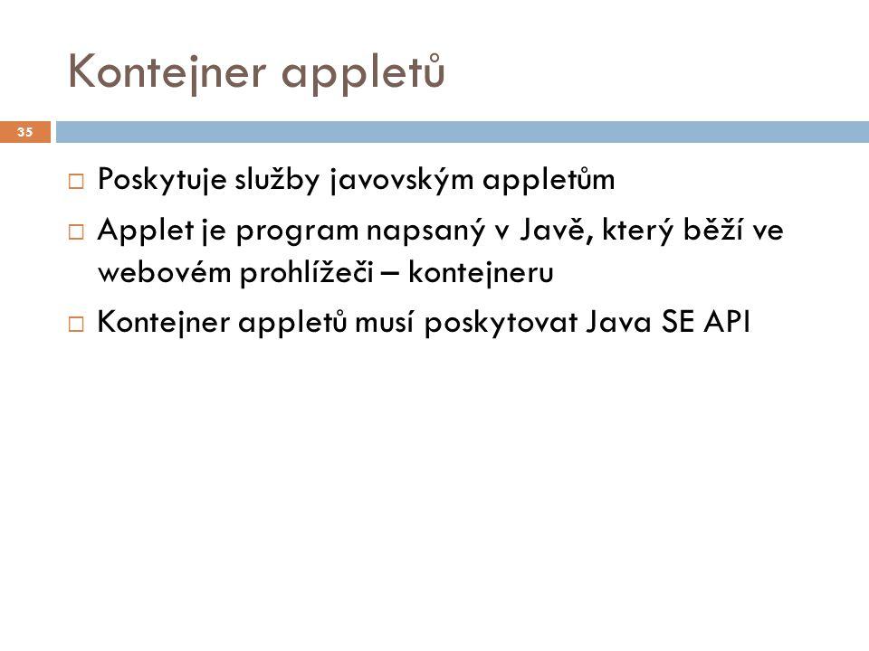 Kontejner appletů  Poskytuje služby javovským appletům  Applet je program napsaný v Javě, který běží ve webovém prohlížeči – kontejneru  Kontejner